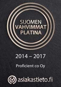 Suomen Vahvimmat Platina 2017 Korkein luottoluokitus Proficient Oy sai Suomen Vahvimmat Platina luottoluokituksen 2017 Proficientin kehityksestä