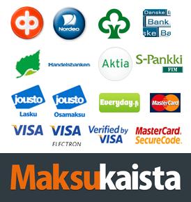 Maksukaista pankki, luottokortti, lasku ja osamaksu