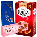 fazer sininen, geisha suklaakuorrutekeksi, juhla mokka kahvi